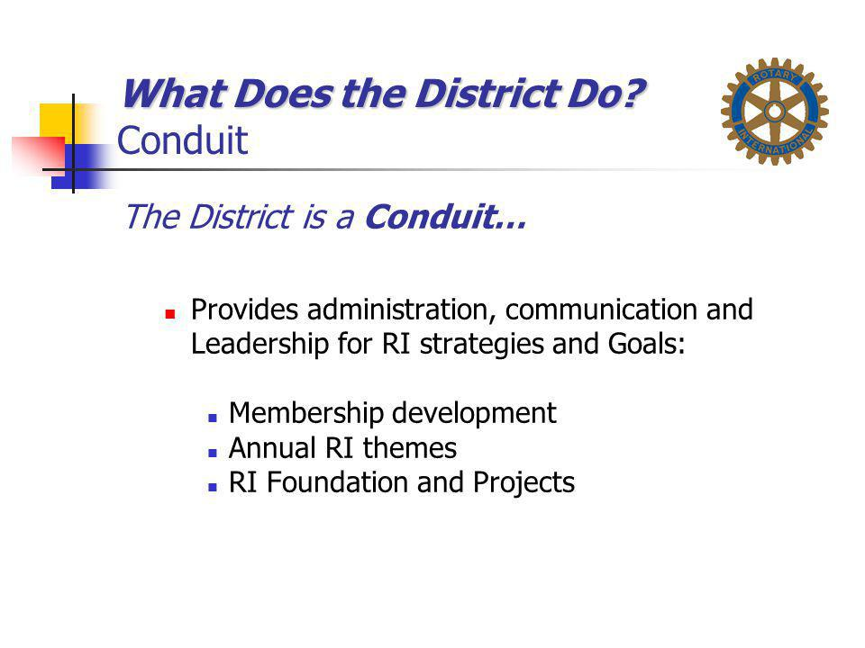 What Does the District Do Conduit