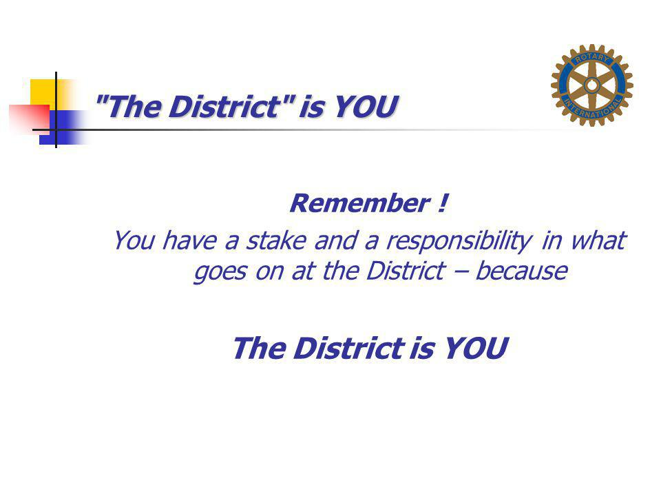 The District is YOU The District is YOU Remember !