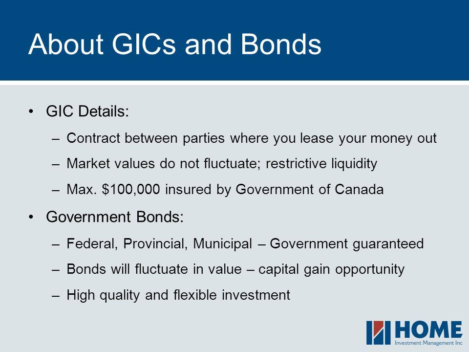 About GICs and Bonds GIC Details: Government Bonds: