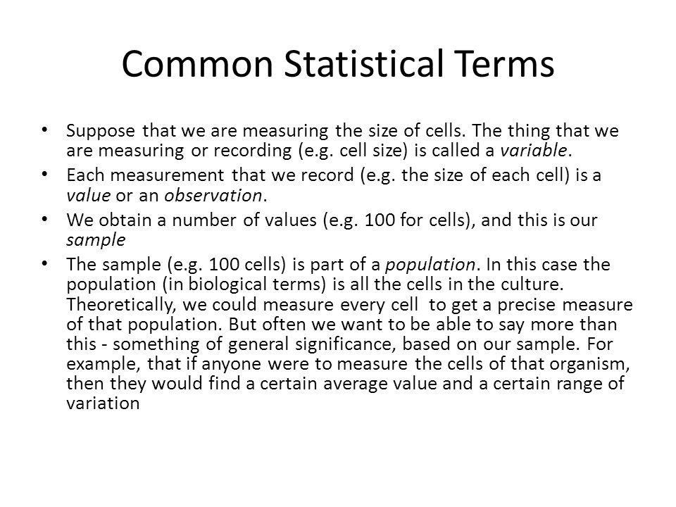 Common Statistical Terms