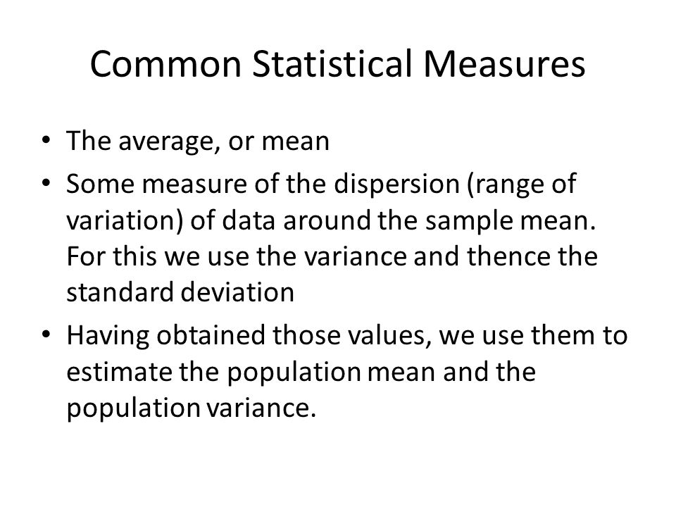 Common Statistical Measures