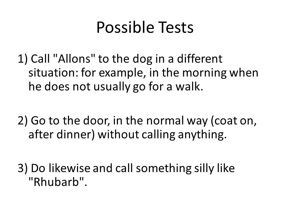 Possible Tests