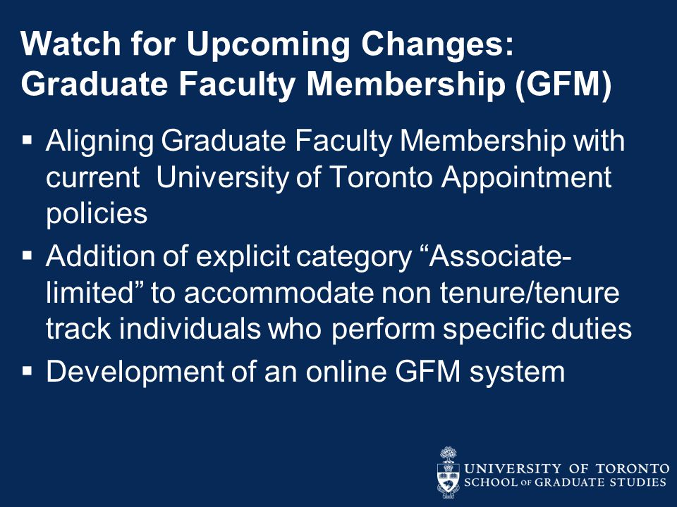 Watch for Upcoming Changes: Graduate Faculty Membership (GFM)
