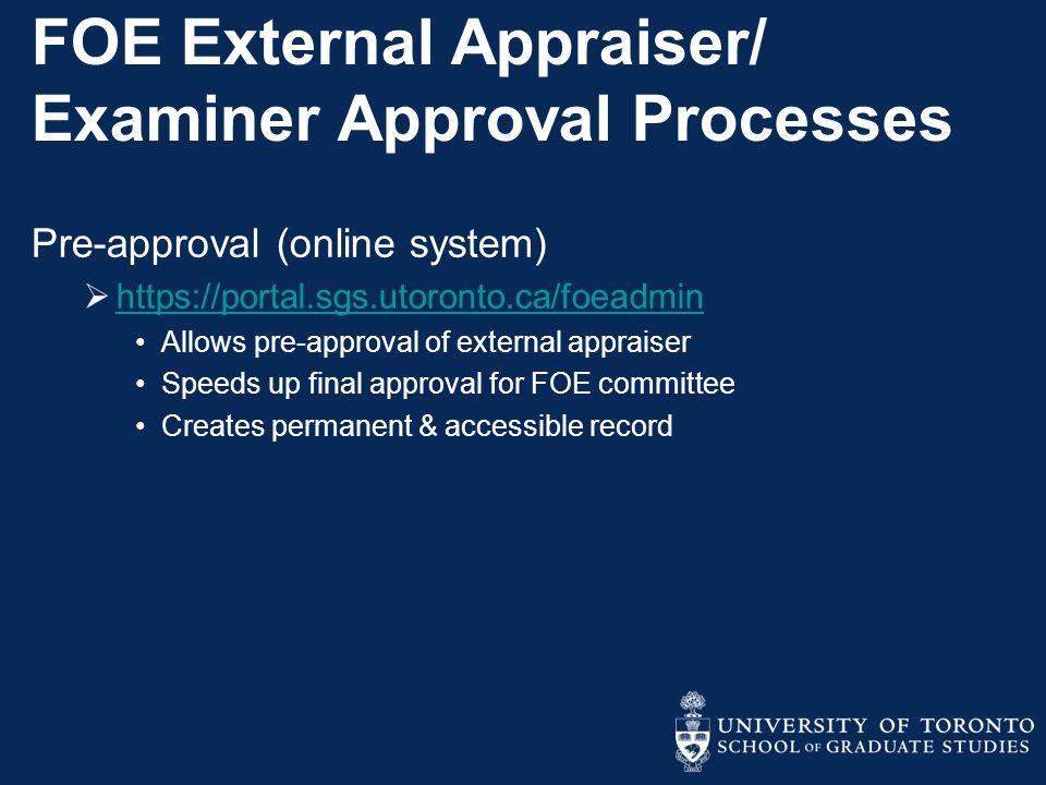 FOE External Appraiser/ Examiner Approval Processes