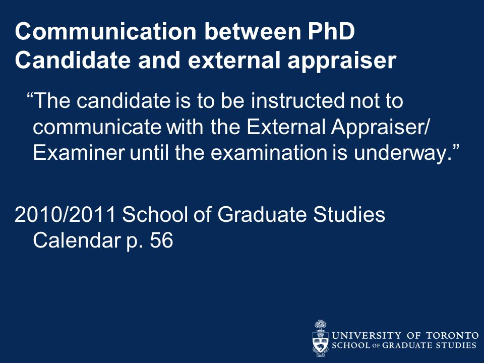 Communication between PhD Candidate and external appraiser