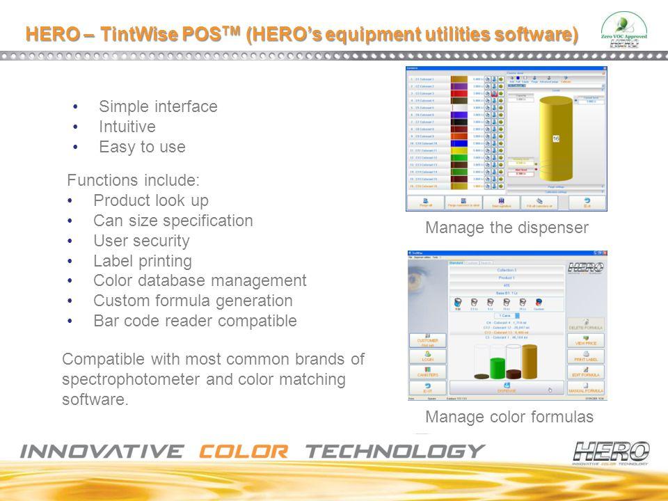HERO – TintWise POSTM (HERO's equipment utilities software)