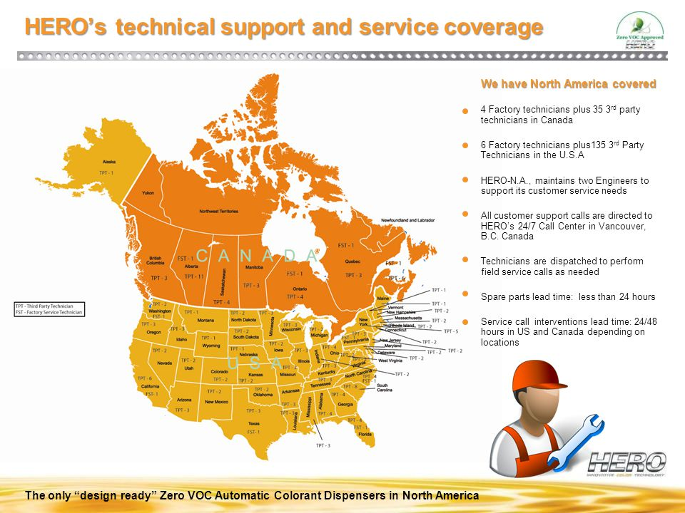 HERO's technical support and service coverage