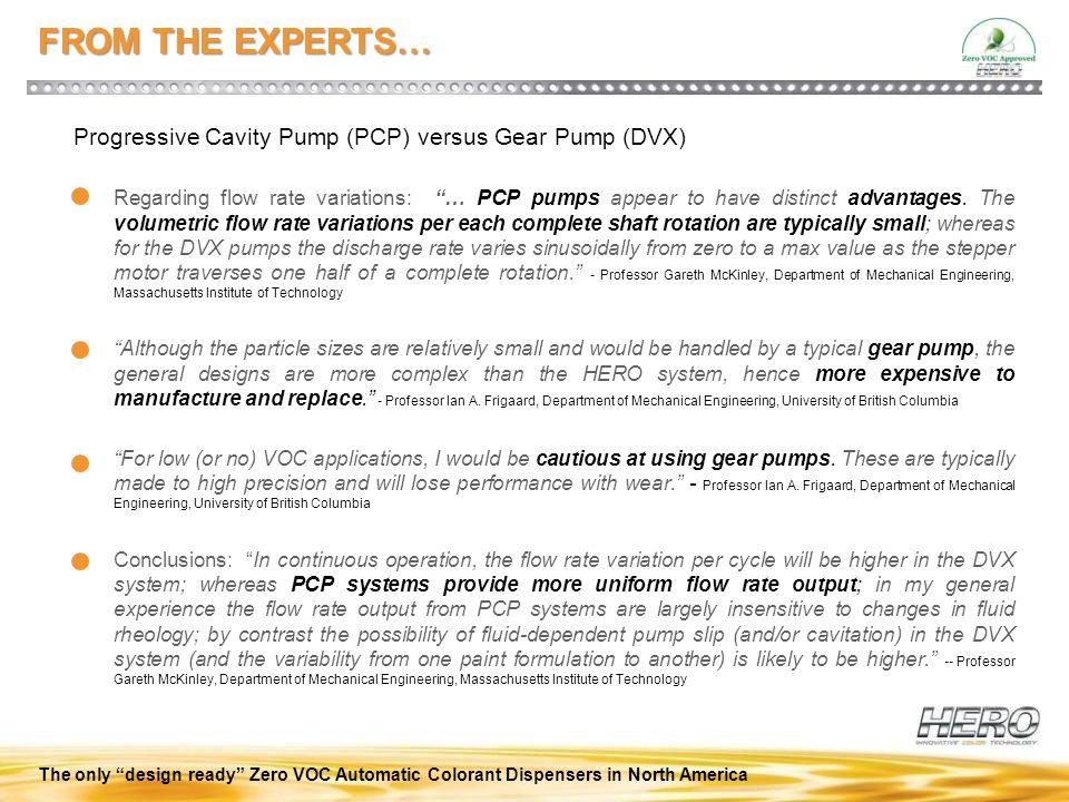 FROM THE EXPERTS… Progressive Cavity Pump (PCP) versus Gear Pump (DVX)