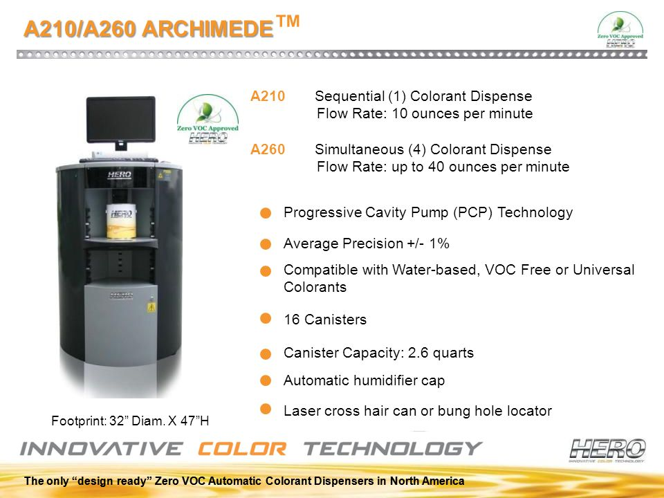 A210/A260 ARCHIMEDE™ A210 Sequential (1) Colorant Dispense