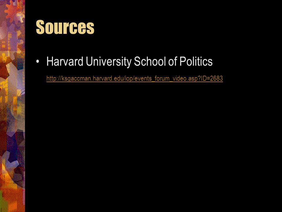 Sources Harvard University School of Politics http://ksgaccman.harvard.edu/iop/events_forum_video.asp ID=2683.