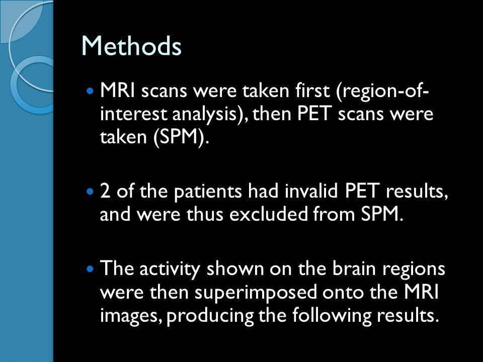 Methods MRI scans were taken first (region-of- interest analysis), then PET scans were taken (SPM).