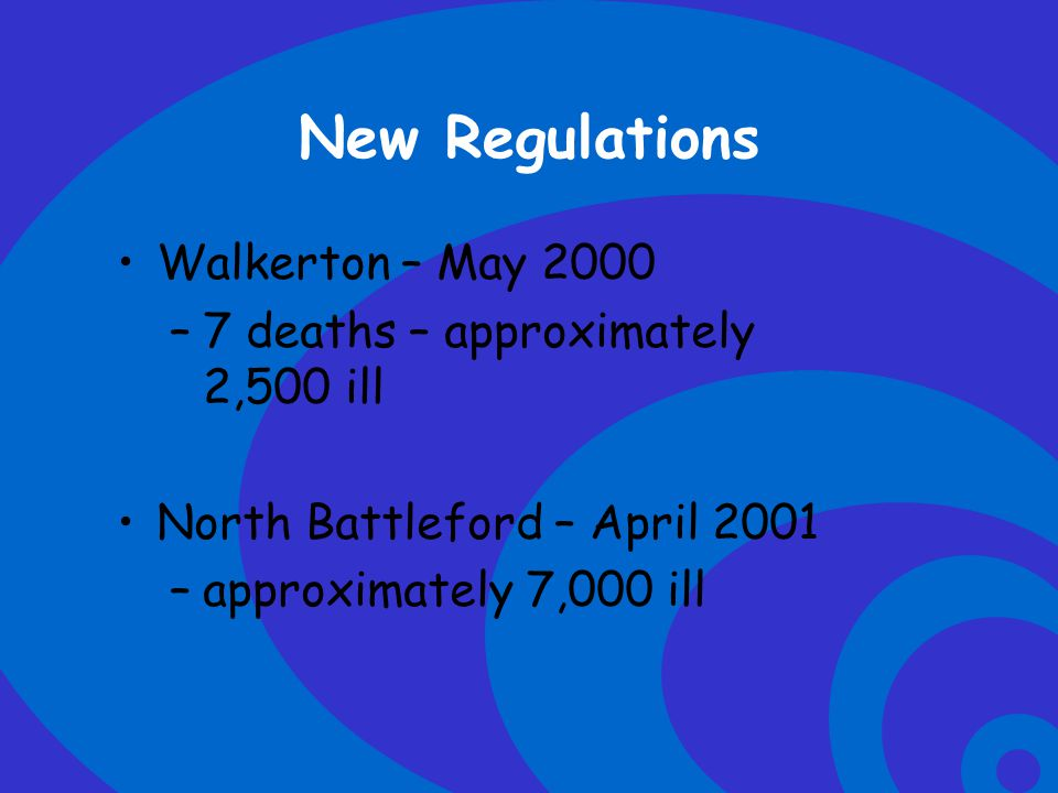 New Regulations Walkerton – May 2000