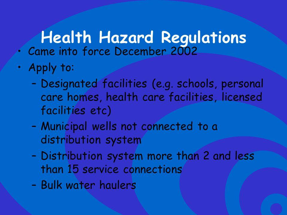 Health Hazard Regulations