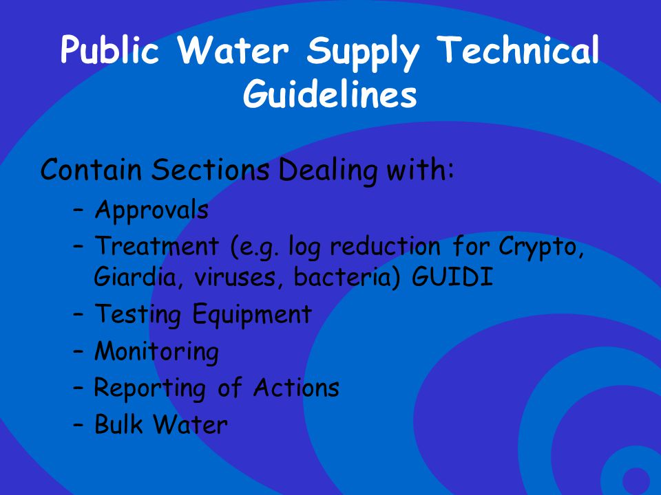 Public Water Supply Technical Guidelines