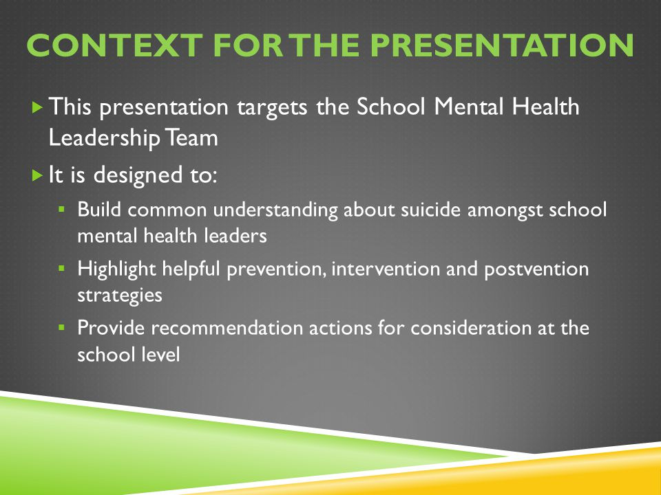 Context for the presentation