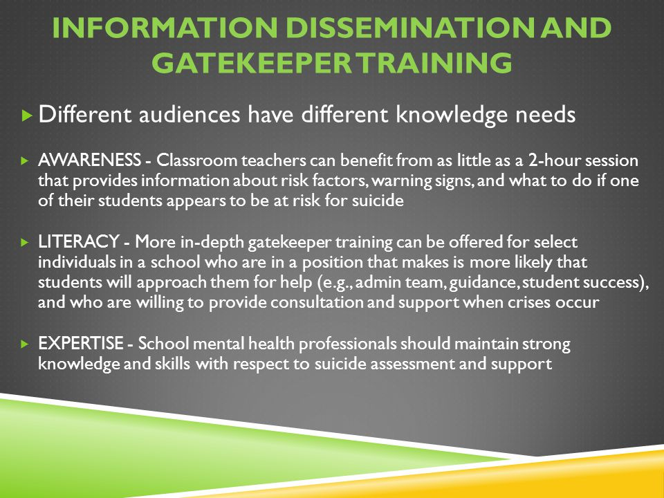 Information Dissemination and Gatekeeper training
