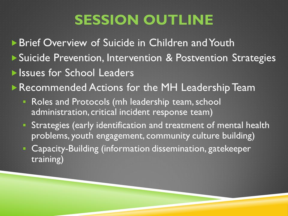 Session Outline Brief Overview of Suicide in Children and Youth