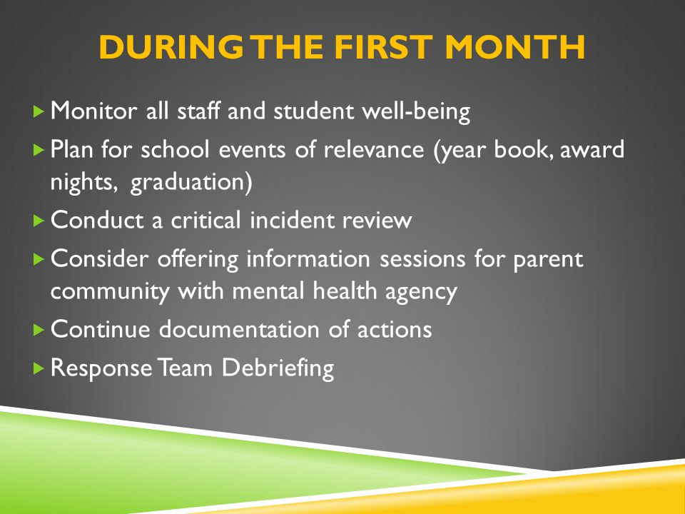 During The first month Monitor all staff and student well-being