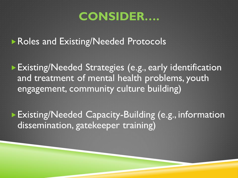 Consider…. Roles and Existing/Needed Protocols