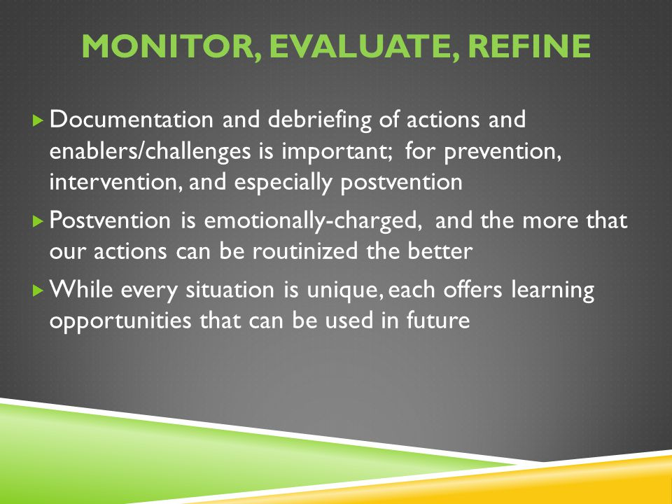 Monitor, evaluate, refine