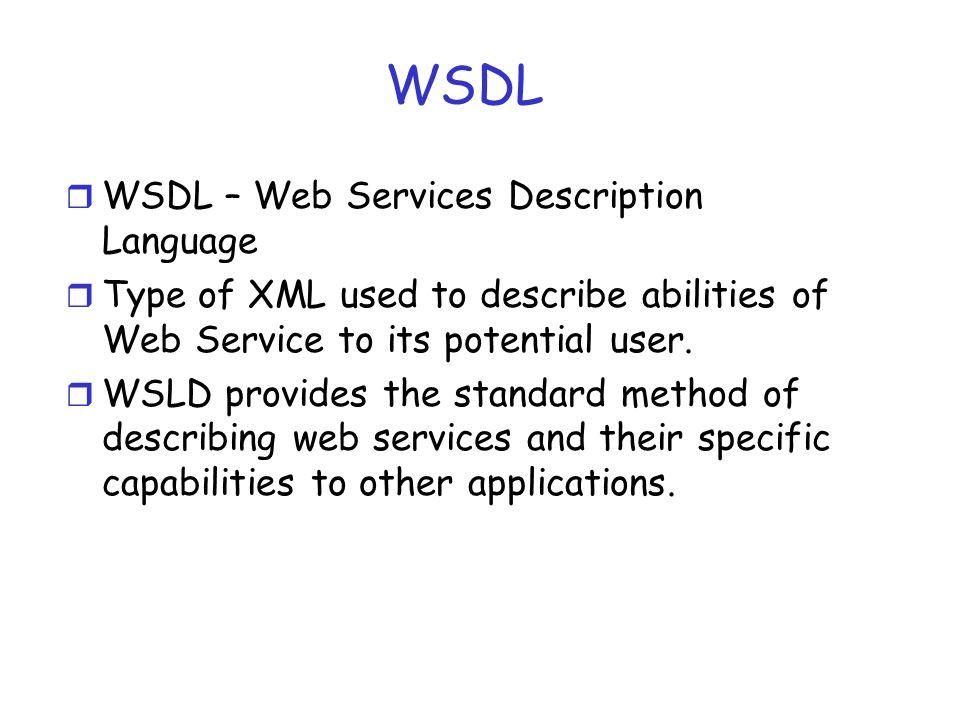 WSDL WSDL – Web Services Description Language
