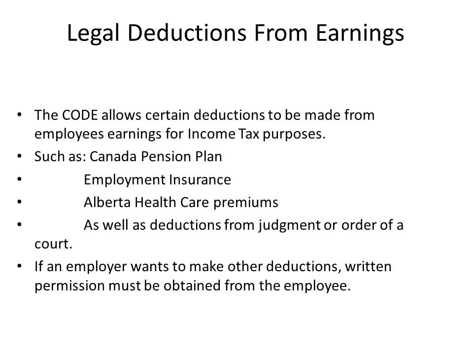 Legal Deductions From Earnings