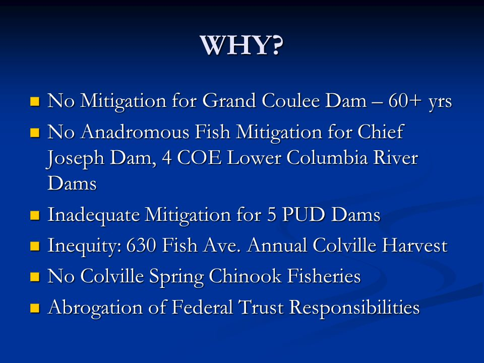 WHY No Mitigation for Grand Coulee Dam – 60+ yrs
