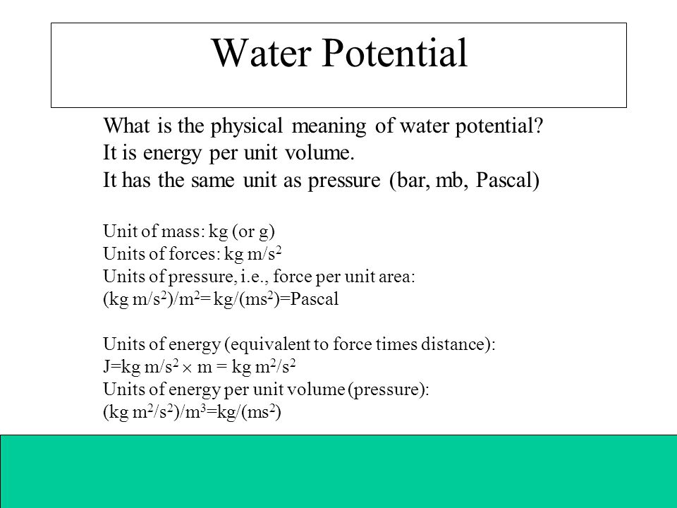 Water Potential What is the physical meaning of water potential
