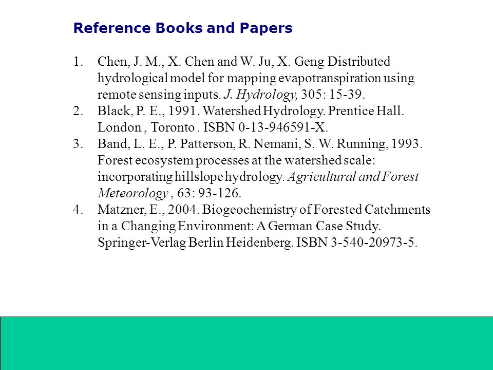 Reference Books and Papers