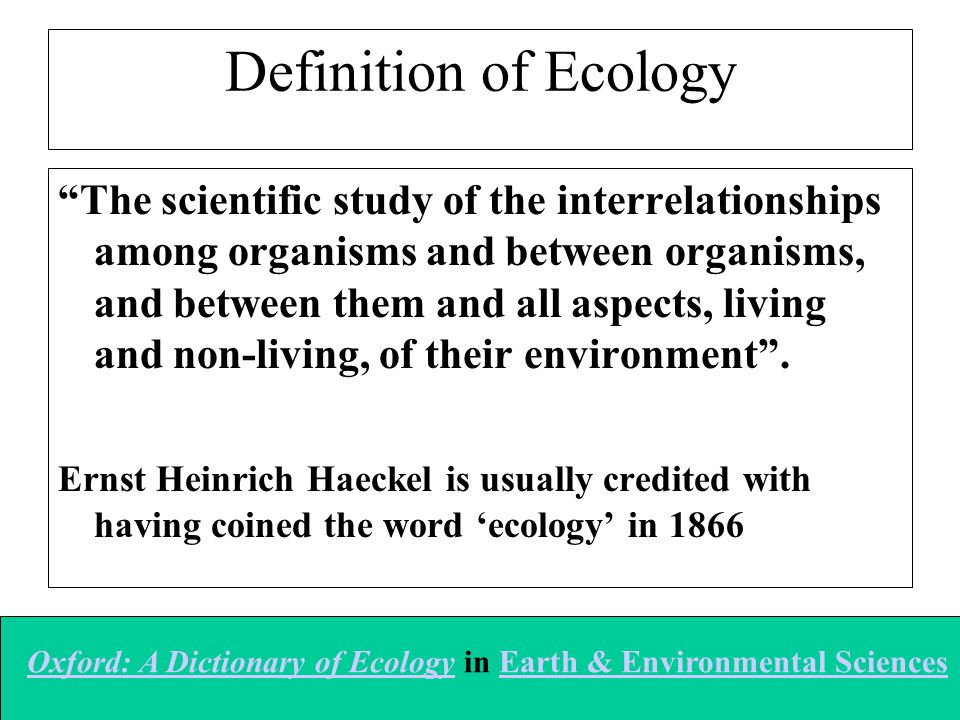 Definition of Ecology