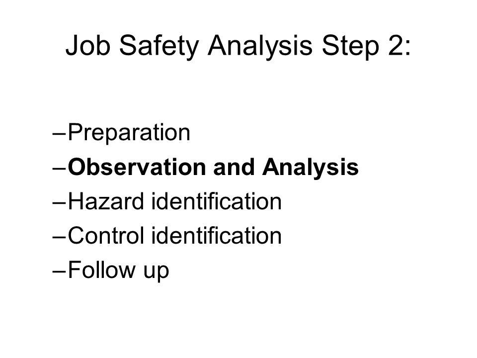 Job Safety Analysis Step 2: