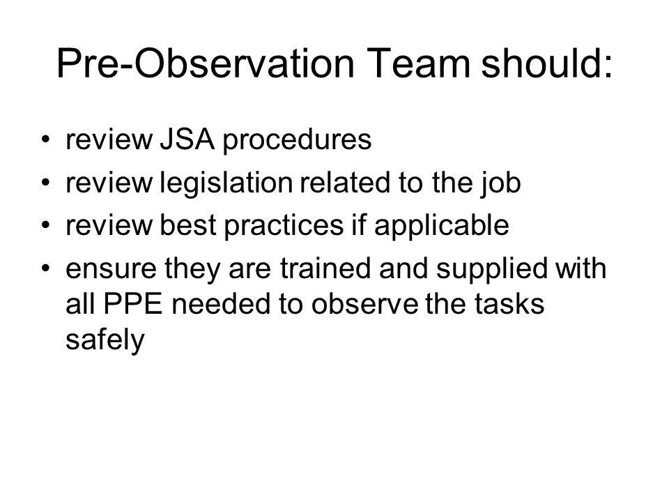 Pre-Observation Team should:
