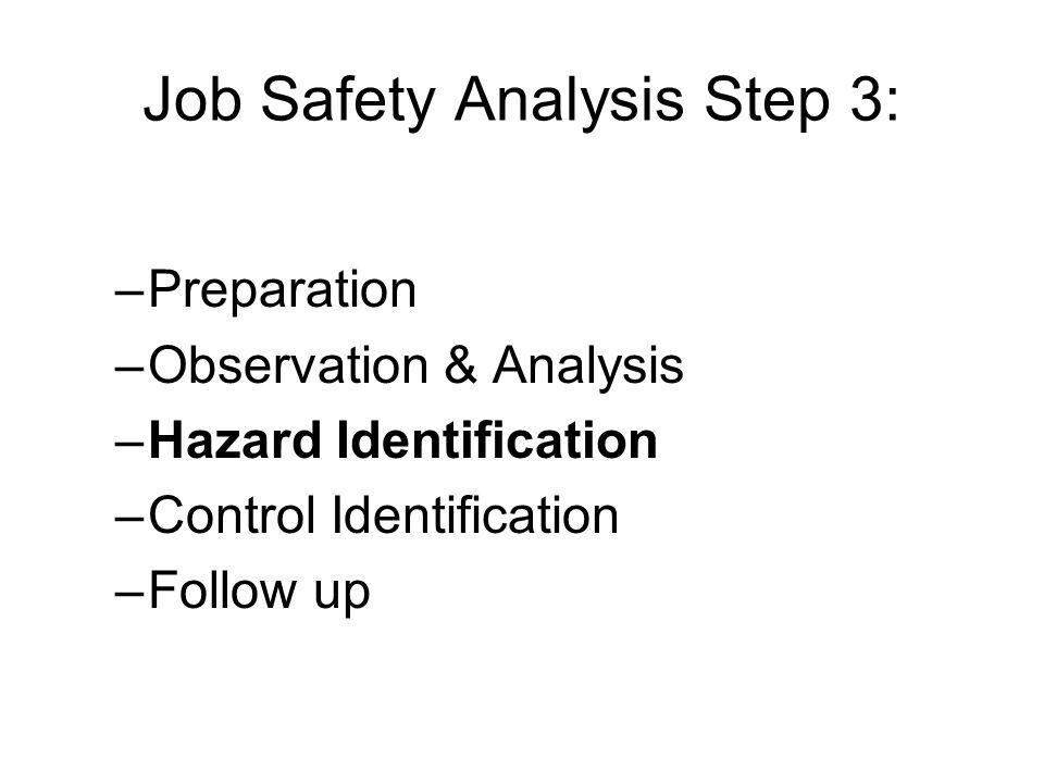 Job Safety Analysis Step 3: