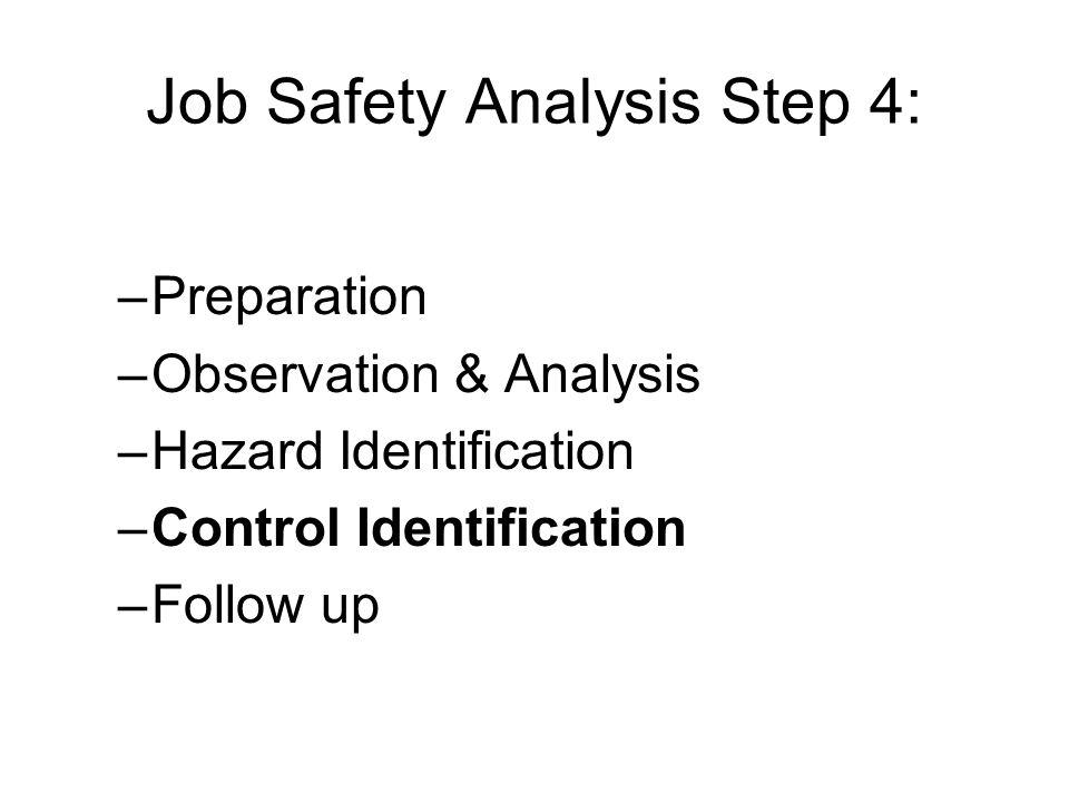 Job Safety Analysis Step 4:
