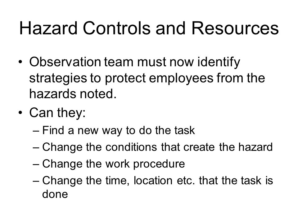 Hazard Controls and Resources