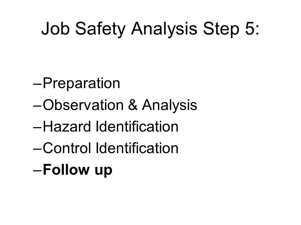 Job Safety Analysis Step 5: