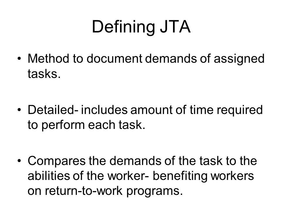 Defining JTA Method to document demands of assigned tasks.