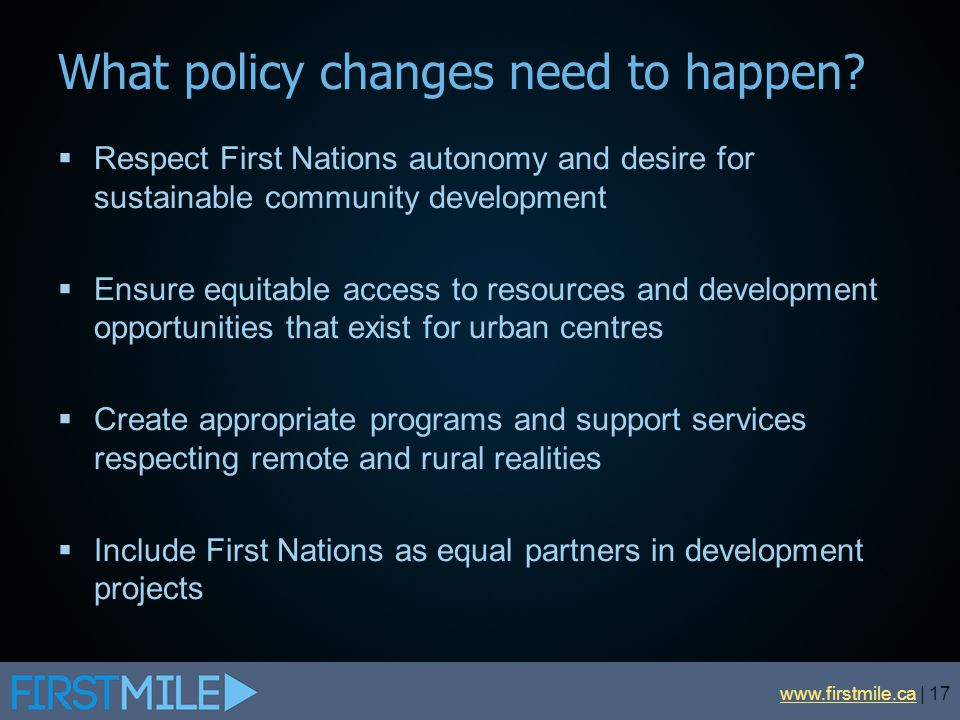 What policy changes need to happen