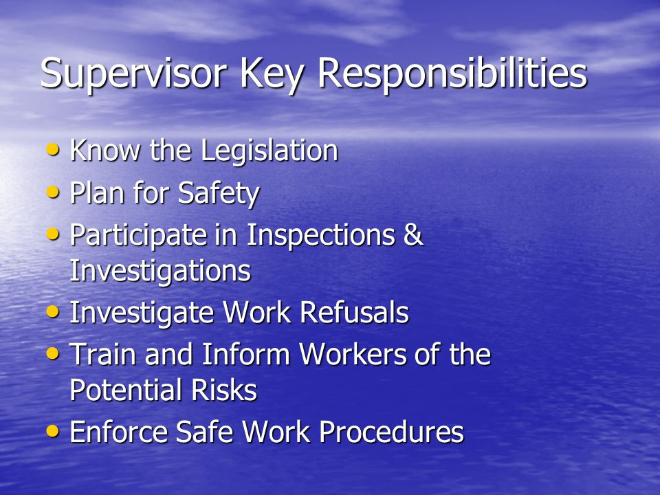 Supervisor Key Responsibilities