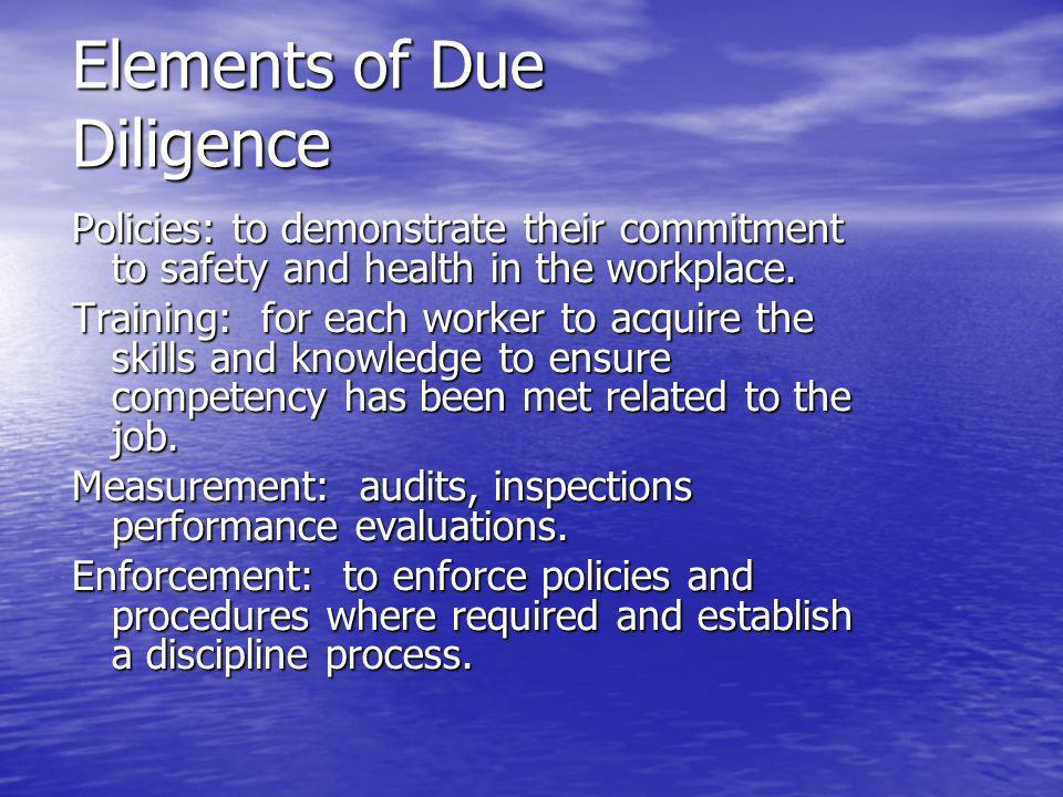 Elements of Due Diligence
