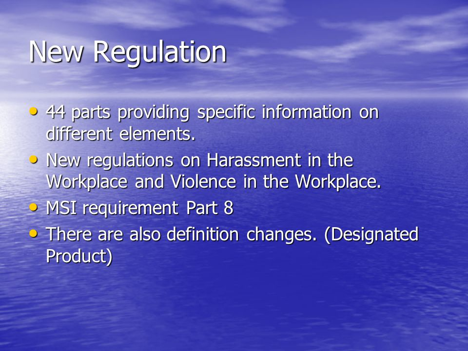 New Regulation 44 parts providing specific information on different elements.
