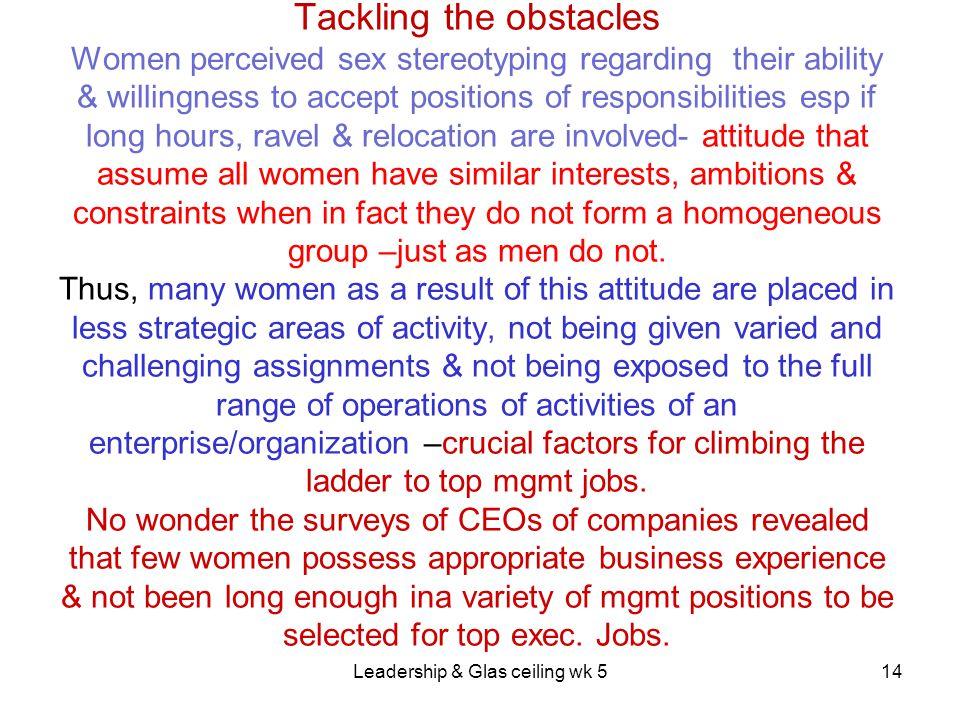 Leadership & Glas ceiling wk 5