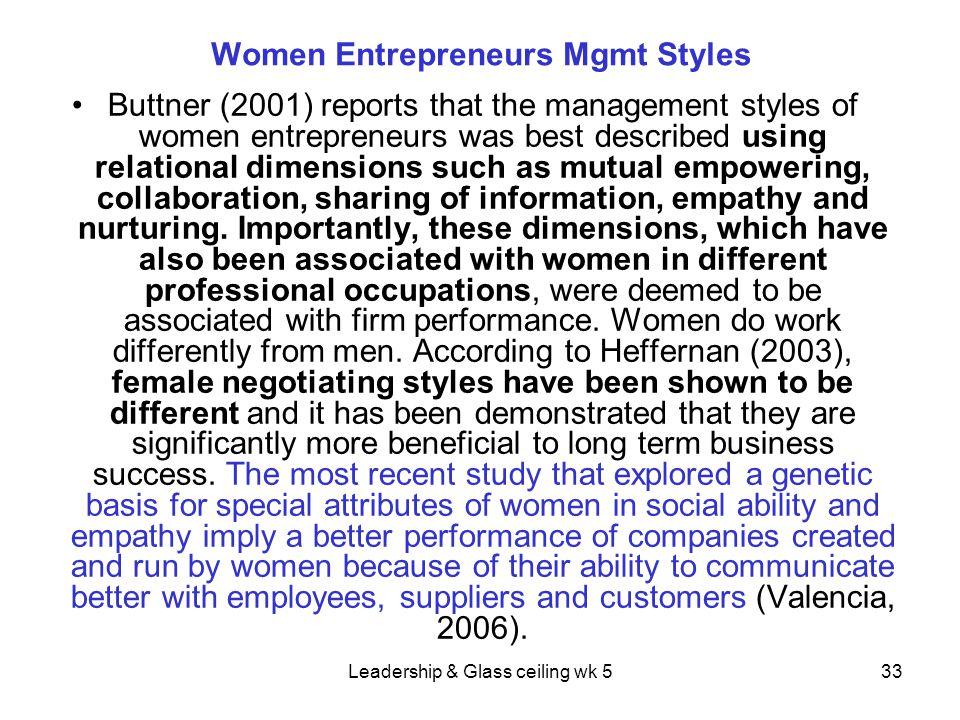 Women Entrepreneurs Mgmt Styles