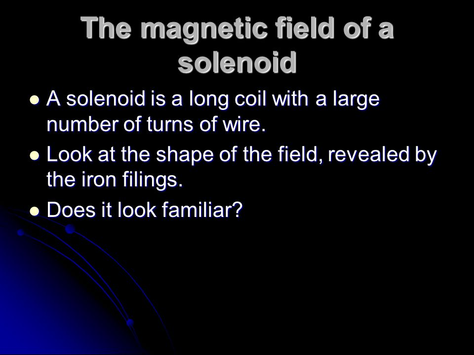 The magnetic field of a solenoid