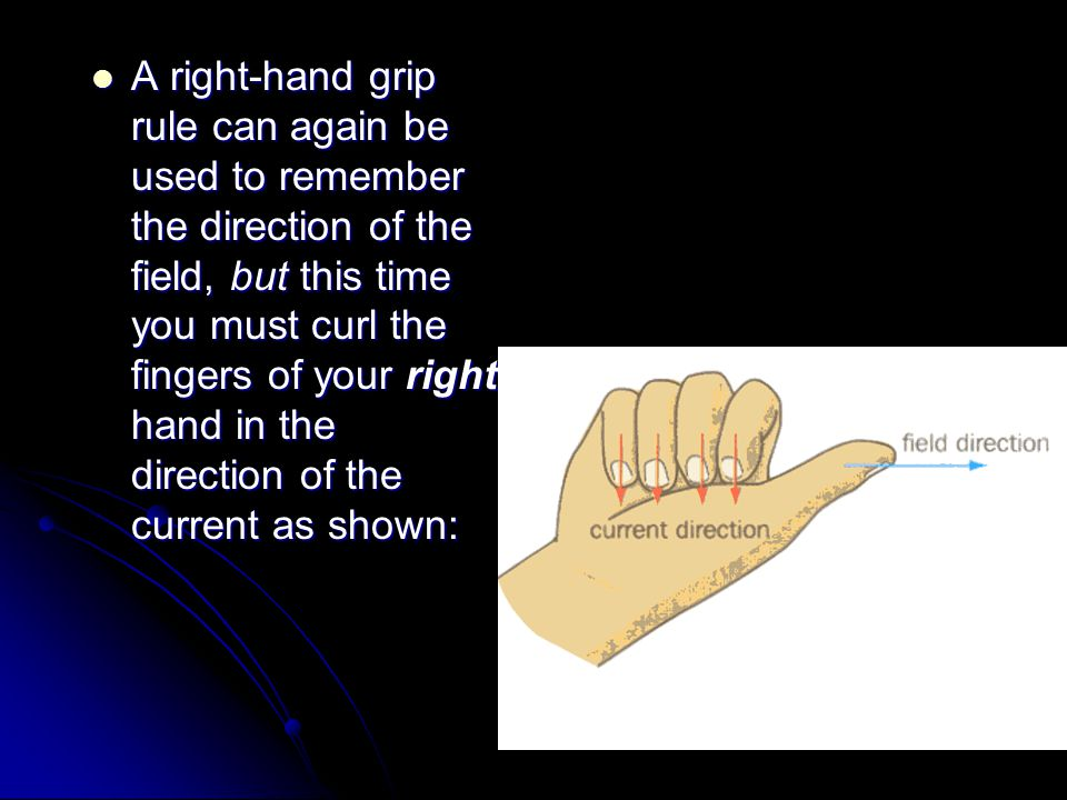 A right‑hand grip rule can again be used to remember the direction of the field, but this time you must curl the fingers of your right hand in the direction of the current as shown: