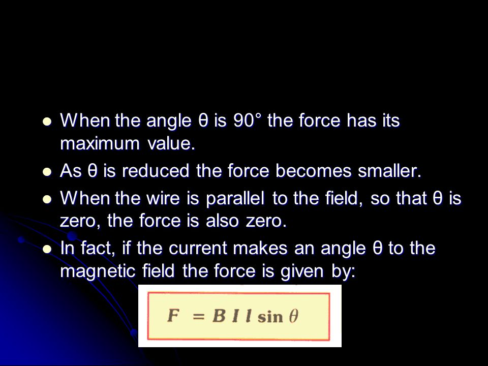 When the angle θ is 90° the force has its maximum value.