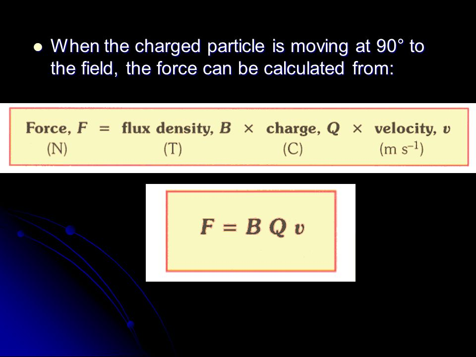 When the charged particle is moving at 90° to the field, the force can be calculated from: