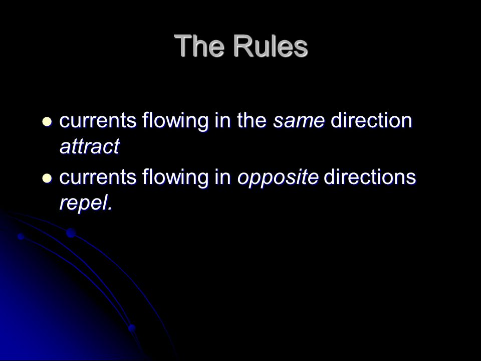 The Rules currents flowing in the same direction attract