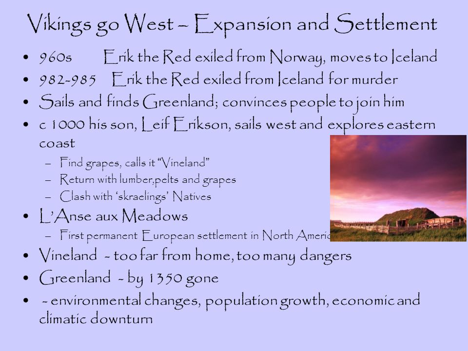 Vikings go West – Expansion and Settlement