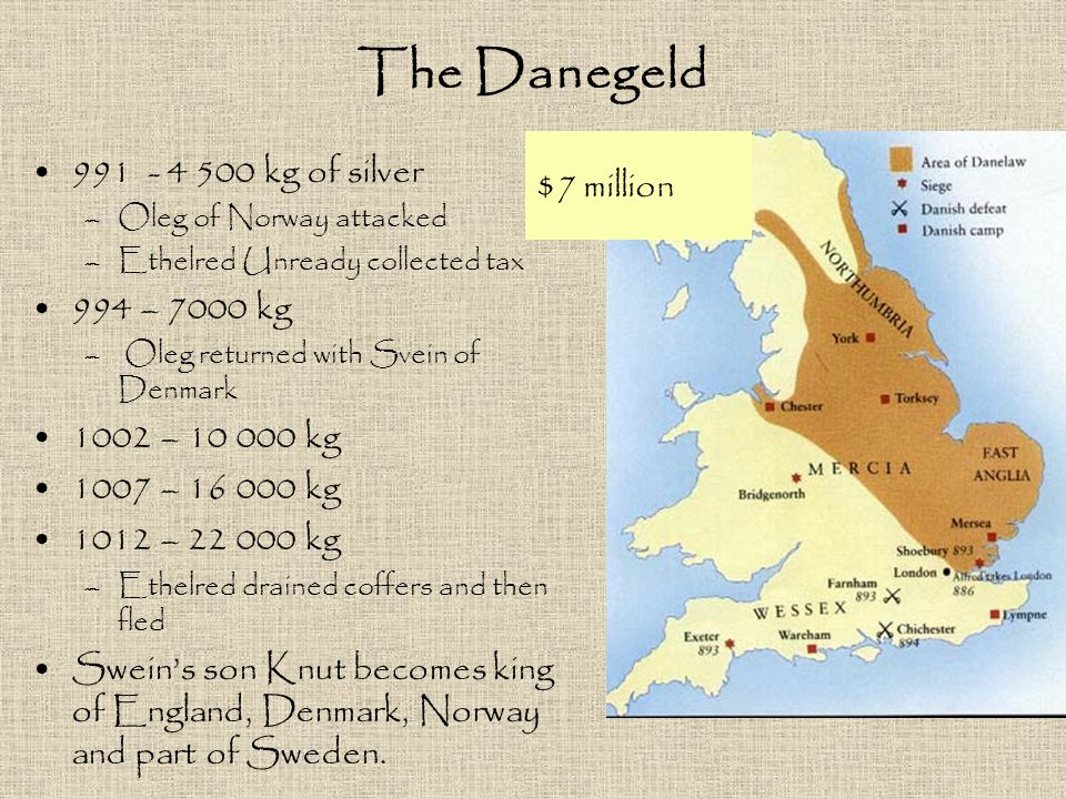 The Danegeld $7 million 991 - 4 500 kg of silver 994 – 7000 kg